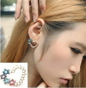 Wholesale price OL temperament retro flash Imitation diamond love pearl Earrings new fashion Jewelry HOT EP-0221(China (Mainland))