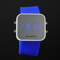 New Men's Silicone Band blue LED Sports Wrist Watch 20pcs/lot