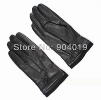 Black Men's Deluxe Fashion Genuine Leather Wrist Gloves Driving 3 Lines Wool Wrist