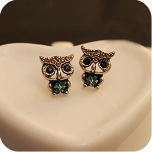 1pcs Free shipping Wholesale jewelry rhinestone lovely owl earrings A0023