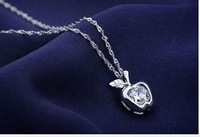 Exquisite necklace--Trendy 925 sterling silver necklaces bright Apple  encrusted zircon pendant free shipping MB-88A023-1211