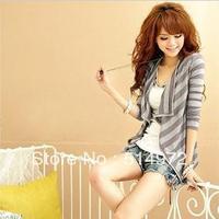 Best Selling !!Fashion stripe long sleeve blazer women Cardigan women jacket outwear+Free Shipping