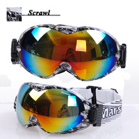 Free shipping Two-layer coating,PC lens Dual layer face foams ski goggles/riding eyeglasses With rubber antislip atrip  M0266