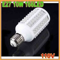 free shipping!! 1pcs 10W 166 led 166LED Corn Light Bulb E27 360 degree 110V LAMP Cold White LED light