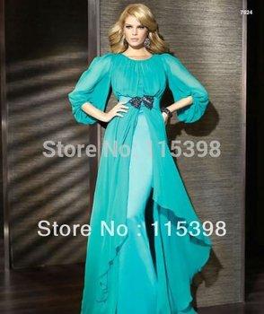 الأكثر مبيعا pr7306 طويل الأكمام الزرقاء الشيفون فساتين السهرة عربية
