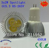10PCS/Lot  GU5.3 3x2W Spotlight Warm / Cool white 3X2W High Power LED Lamp Light 6W 85-265V 450LM (3lot free shipping by FEDEX