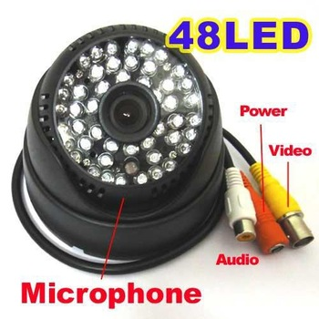 Security IR Color Dome Audio CCTV Camera D/N 48Leds MIC
