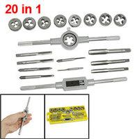 20 in 1 M3x0.5 M4x0.7 M5x0.8 M6x1.0 Screw Extractor Tap Die Wrench Set w Holder