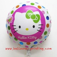 New Arrived! Free Shipping(100pieces/lot) Hellokitty Round shape balloon 100% Top Foil Material