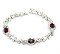 Free Shipping Purple Austria Crystal Rhinestone 18KPG Alloy Cuff Bracelet or Wristband for Women or Ladies Gift