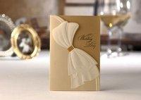Very Elegante Golden Wedding Invitation as Falbala (Set of 50) Colourful Printable and Customizable Wholesale Free Shipping New