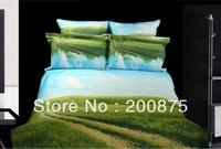 Free Shipping--KING SIZE--40s 100% Cotton Sky Road --oil painting bedding set /bed linen/4pcs comforter sets/bed sheets