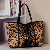 big leopard print  Women's handbag  tassel shoulder bag lady's  handbag  1pc free shipping