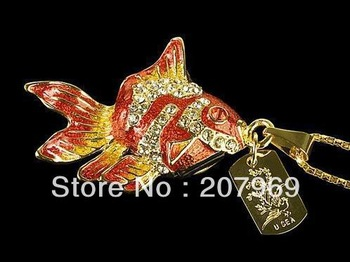 4gb/8gb/16gb/32gb  Animal Goldfish Necklace Jewelry USB flash drive Memory Stick Pen Drive for Girls,Free Shipping