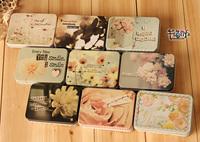 Free shipping 2013 Flower Series Iron sheet Storage box Tin box Cartridge Cute House tin box 9pc/lot