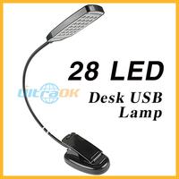 Flexible 28 LED Light Clip Table Desk Lamp White Light +USB Plug