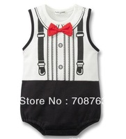Retails Bowknot Gentleman Tie Rompers Suits For 1-3 Years Baby Infant Kids Boys one piece