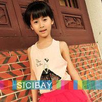 Girl's Sleeveless Tops,Cute Fake Ballet Dancer Tank for Girls, O Neckline Patchwork Cotton T Shirt,Free Shipping K0143