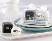 "Wholesale 50 Sets ""Mr. & Mrs."" Salt & Pepper Shakers Favor Wedding Favor Table Decoration Wedding Souvenirs Fast Free Shipping"