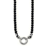 New arrival black agate chain necklace,silver ring pendant  necklace,fine jewelry for man,length 60cm