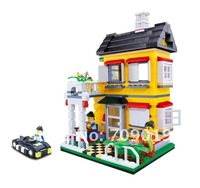 DIY Christmas gift Enlighten Child 31052 educational toys WANGE Villa House toys building block sets,children toys free Shipping