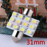 20pcs 31mm 12 SMD Pure White Dome Festoon 12 LED Interior Car Light Bulb Lamp Interior Lights C5W Led