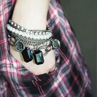 Free Shipping Charms Bracelet Fashion Bohemian Pearl Shiny Crystal Sexy Vintage Bracelet Bangel