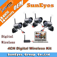 SunEyes 2.4GHZ Digital Wireless Kit 4ch Outdoor Weatherproof Camera 4pcs  and USB DVR Receiver CCTV Systems SDK-L402