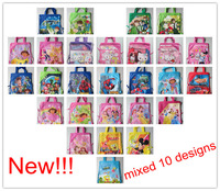 Promotion! Mix 10 Different Designs Non-woven Material Kids Cute/Cartoon Drawstring Backpack Bag With Handle, 20 pcs/lot