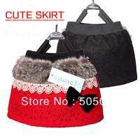 Hot Sale New Fashion Cute Baby Girls Casual Skirt Kid's Big Bow Skirt Autumn Gypsophila Paniculata Wool Lovely Child Mini Skirt