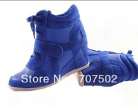 Drop Free Shipping !2012 Hot ASH Wedges Sneakers Women Shoes Height Increasing Fashion Boots Leather Brand Lace-Up Color match
