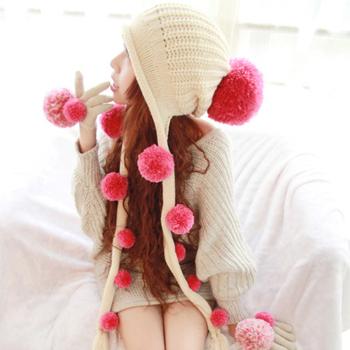 Sweet women's winter hat fur ball tassel ear protector cap knitted hat