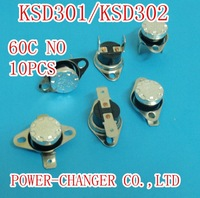 Free shipping KSD301 60C normally open NO temperature   switch thermostat Thermal Protector  degree 10A/250V  CQC
