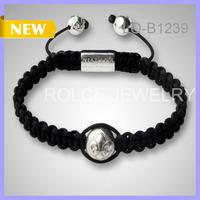 Free Shipping Trendy 10pcs/lot Hematite Shamballa Beads and Gold Beads No Logo Braided Bracelet