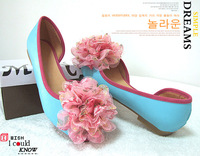 Candy color sweet flower flats shoes female color block decoration open toe  shoes work shoes ol