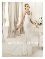 Chiffon and Lace Sweetheart Neckline Sheath Wedding Dress 0036