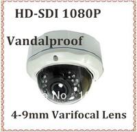 CCTV WDR Full HD SDI 1080P  Suveillance camera 4-9mm Varifocal lens 30Leds  infrared vandalproof Dome camera