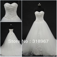 Real Sample A-Line Lace Appliqued Gathedral Train White wedding dress 2013