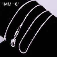 Minimum $18 mixed free shipping 925 pure silver necklace 1 mm snake bone chain