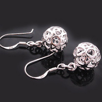 Minimum $18 mixed batch of/free shipping 925 pure silver earrings and exquisite carve xiangyun eardrop ball earrings