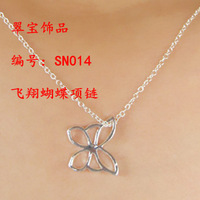 Minimum $18 mixed free shipping 925 pure silver necklace hollow out butterfly pendant necklace