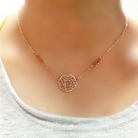 Accessories rose gold color gold cutout coins necklace female short design chain accessories hangings lanyards