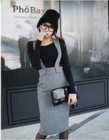 Free Shipping 2014 solid color slim elegant woolen suspenders High Quality half-length Slim skirt(Black+Gray+S/M)121127#9