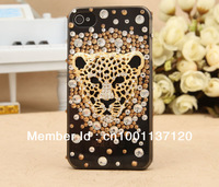 10 pcs/LOT Tiger head diamond plastic hard skin case shell cover for iphone 4g 4s new rhinestone cover free shipping