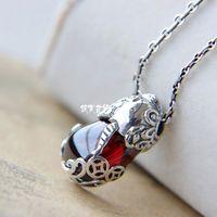 Free Shipping 925 Pure Silver Pi Xiu Natural Stone silver pendants