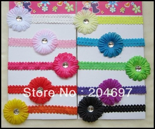 "10sets 2"" Small Gerbera Daisy Flowers Hair Clips + 1.5cm Soft Lace Stretch Elastic Headbands Baby Gilr's Hair Accessories(China (Mainland))"