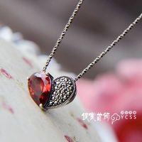 Free Shipping Lovely 925 Pure Silver Handmade Garnet Love Pendant
