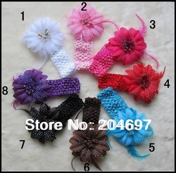 Mix  8set  Girls Baby Infant Toddler Crochet Headbands +10cm Feather Flower Clip Baby Hair Accessories Headwear