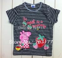 NEW STYLE free shipping 100% cotton peppa pig girl short sleeve tops t shirts shirt