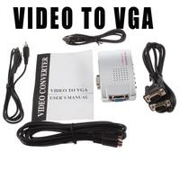 30PCS Universal Converter Video Switch Box PC VGA to TV AV RCA Signal Adapter Supports NTSC PAL system